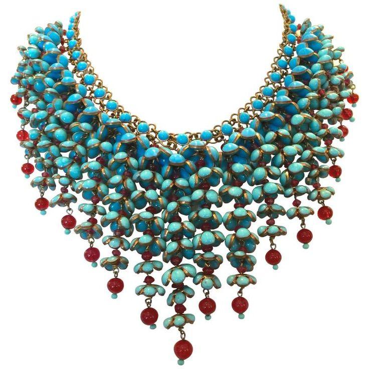 Coco Chanel Gripoix Collier Faux Turquoise et Rubis en Verre à Poulet 1
