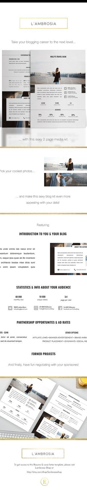 2 Page Blog Media Kit Template for MS Word by LambrosiaShop