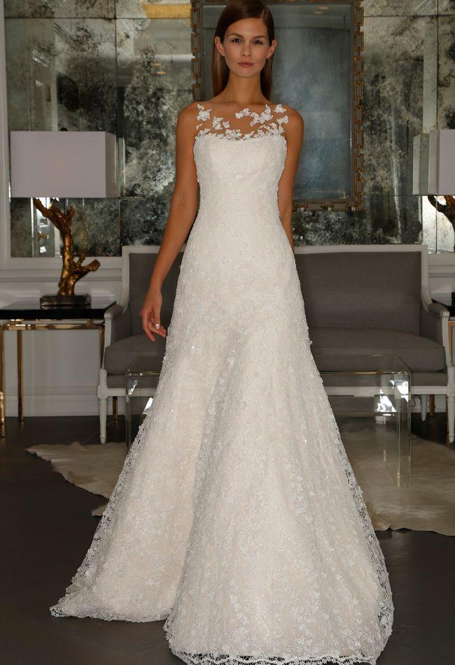 illusion neckline chapel length dress romona kaveza collection fall 2015 blogtheknot
