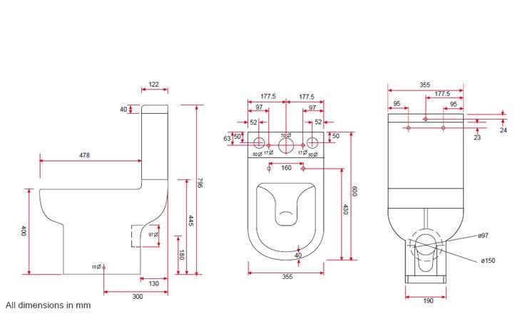 Affine Oceane Space Saving Toilet - Dimensions