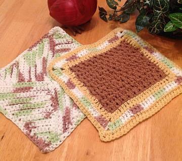 Cottony soft! Crochet dishcloth, #kitchenwashcloth, green, brown, cream, yellow by #OnceUponARoll for $10.80