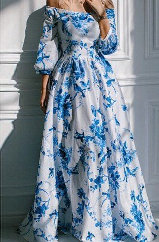 Bohemian Printed Off The Shoulder Dress For Women