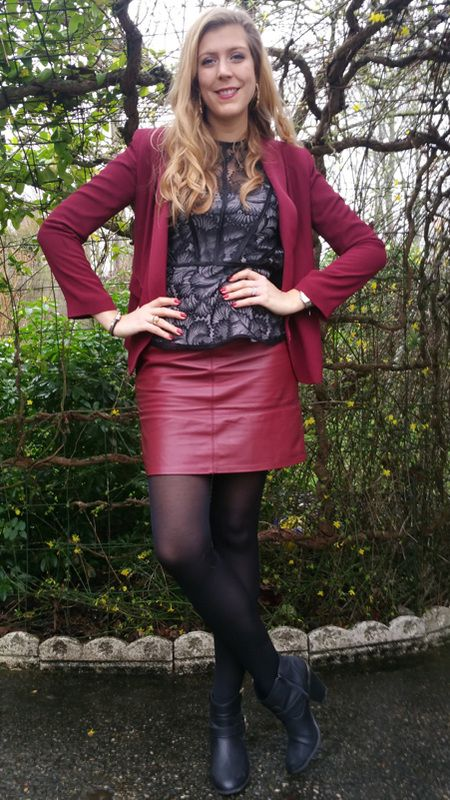 "Burgundy christmas - As first seen on blog ""Miss Glama Zone"" here: Burgundy christmas She is wearing tights similar here: Black Opaque Tights Opaque tights add an intriguing layer of color to update any outfit while a control top helps create a slimmer line."