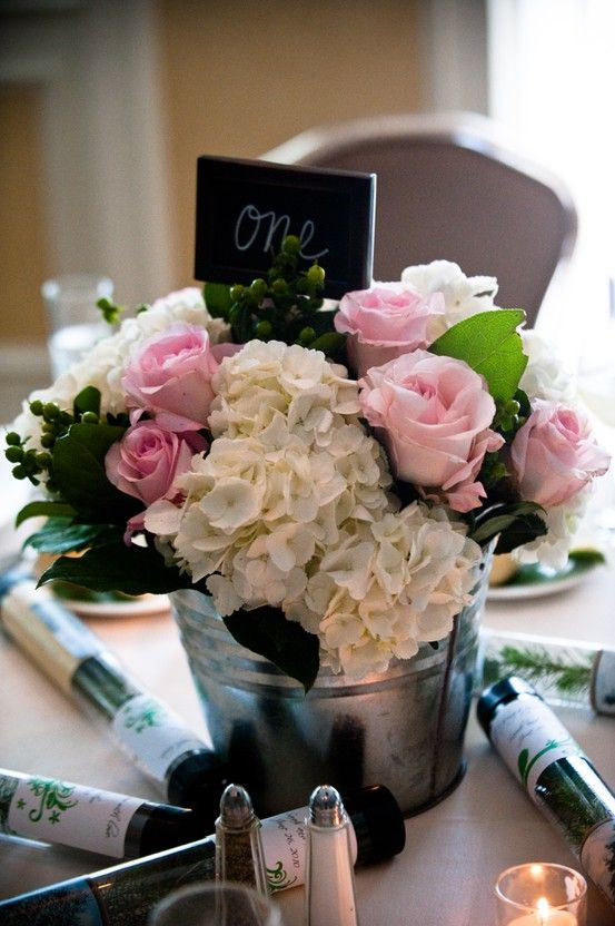 galvanized tub centerpiece, idea to tie in hydrangea tubs at ceremony