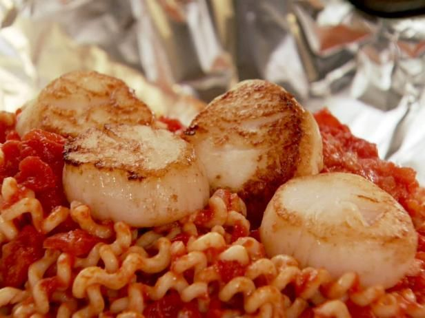 Get Seafood Pasta in a Foil Package Recipe from Food Network