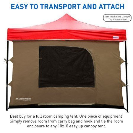 Camping Tent attaches to any 10'x10' Easy Up Pop Up Canopy Tent w/4 Walls, Mesh Ceiling, PVC Floor, 2 Doors,& 4 Windows Image 3 of 7 #campingtent