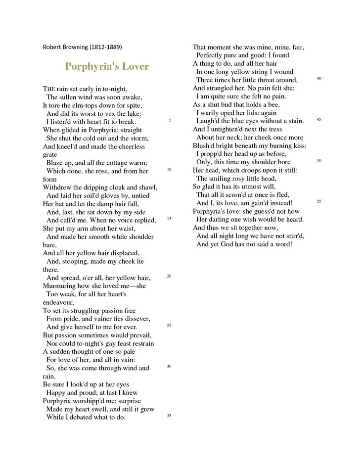 "porphyrias lover analysis Michelle padgett english 102 ms riggs 3 march 2013 critical analysis of ""porphyria's lover"" by robert browning robert browning wrote ""porphyria's lover."