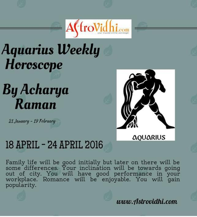 Check your Aquarius Weekly Horoscope (18/04/2016-24/04/2016).Read your weekly horoscope online Hindi/English at AstroVidhi.com.
