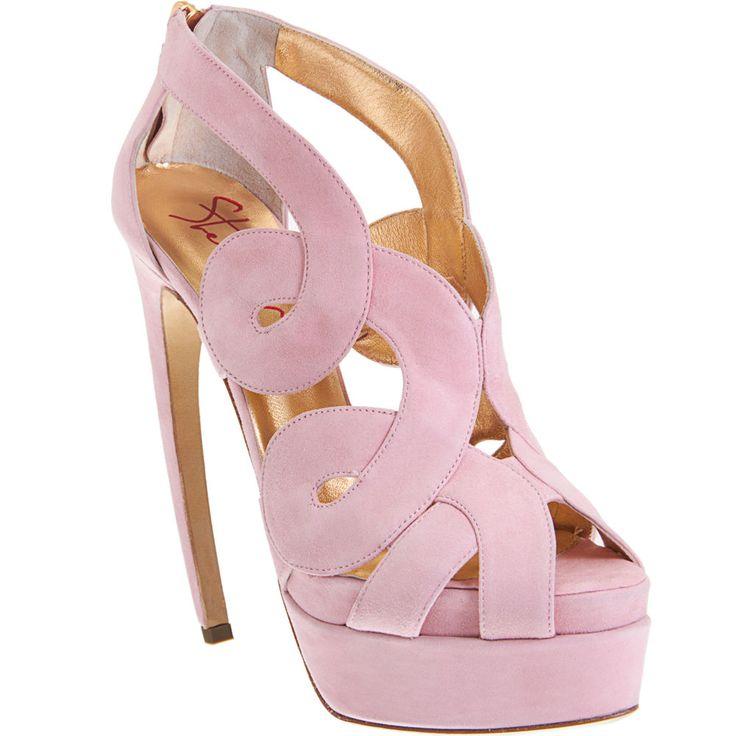 : Steiger Swirls, Walter Scaffolding, Color, Pastel Pink, Pale Pink, Swirls Sandals, Lights Pink Heels, Pink Shoes, Platform Sandals