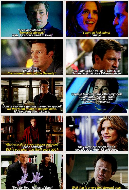 "Firefly references on Castle. Click through for gif.  This was posted with the line ""i may not be over it but i will never be as not over it as nathan fillion is."""