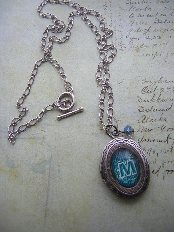 Custom Initial Locket Necklace in Antique Silver by BooJames