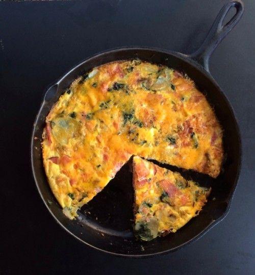 Cheesy, Spinach, Ham and Potato Frittata - BeBetsy