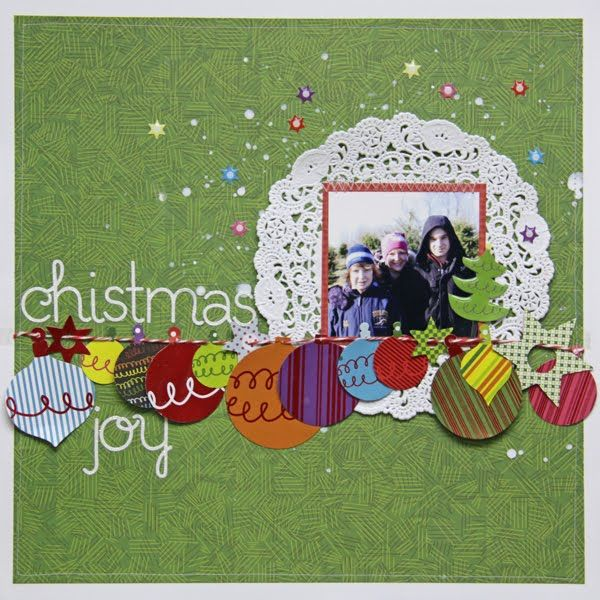 sei lifestyle: Christmas Joy layout with a doily and garland! by Lori Mancini