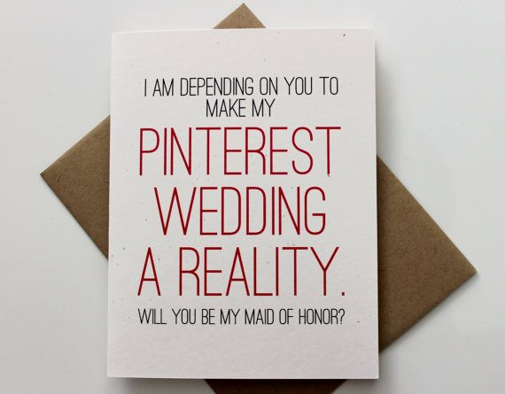 Funny Will you Be My Maid of Honor Card, MOH Proposal, Maid of Honor Gift, Wedding Party Card, Rustic, Pinetrest, Pinterest