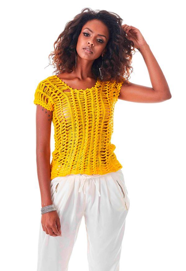 Blusa de Crochê Amarela - Linha Charme - Blog do Bazar Horizonte - Maior  Armarinho Virtual 6fbda856105