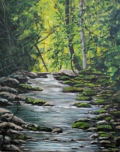 Nail Factory Stream by Sheila Howell Acrylic / Ink ~ 20 Inches x 16 Inches