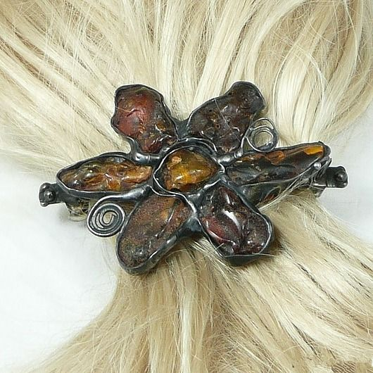 PREZENT. Spinka do włosów. Bursztynowy kwiat / GIFT. Hair clip. amber flower. Nice and classy gift :)