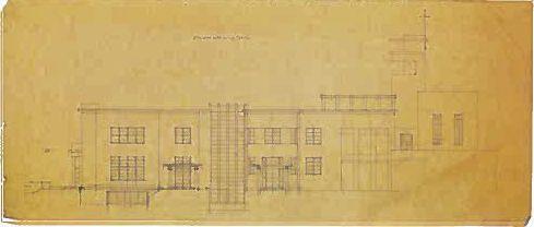 Casa na Quinta de Serralves. Porto, 1931. Fachada Sul. Grafite sobre papel vegetal. -  Marques da Silva : o aluno, o professor, o arquitecto. IMS. Porto. 2006.