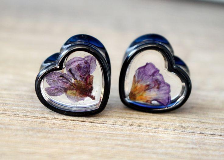 """ear plugs gauge earrings heart plugs real flower plugs floral gauge 11/16"""" plugs 18mm plugs bridal plugs flower gauges girly ear tunnels by JEWELRYandPLEASURE on Etsy"""