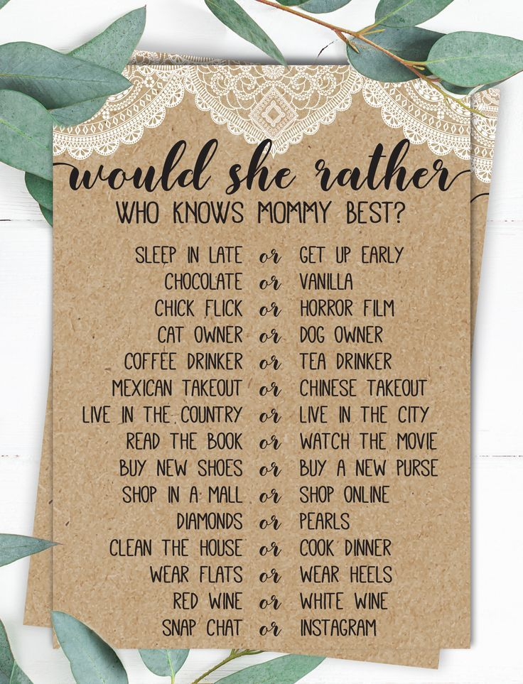 Would She Rather Who Knows Mommy Best Baby Shower Game Rustic Baby Shower Country Baby Shower Baby Lace Baby Shower Baby Shower Winter Rustic Baby Shower