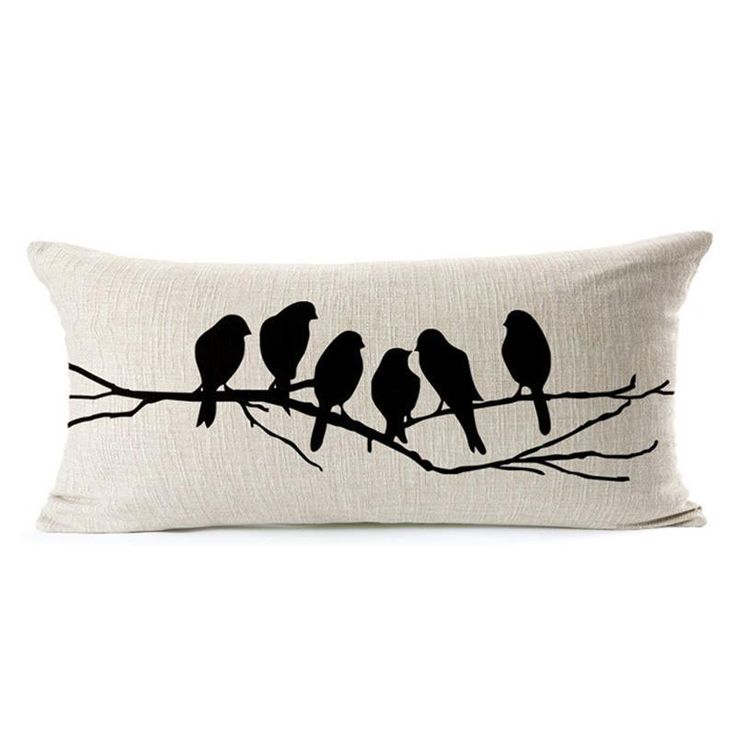 Black Custom Cushion Covers Birdcage Pillows Covers Birds On The Tree Throw Cases Gifts Wedding Decoration Favor #85128