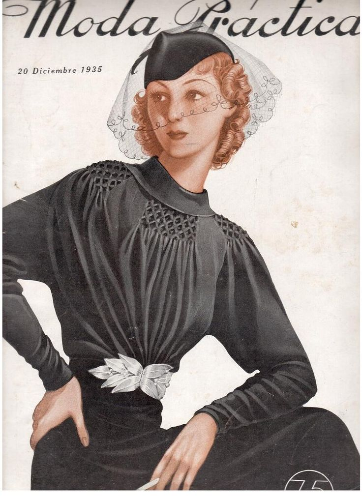 1935 black dress shown on a magazine cover.