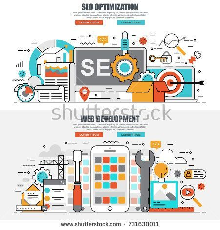 Business flat line concept web banner of search engine optimization tools for growth traffic, web seo, app development. Conceptual linear vector illustration for web design, marketing, graphic design. #searchengineoptimizationbanner,