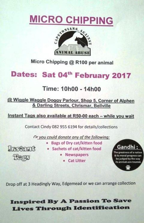 4th of Februarie 2017, micro chipping will only be R100