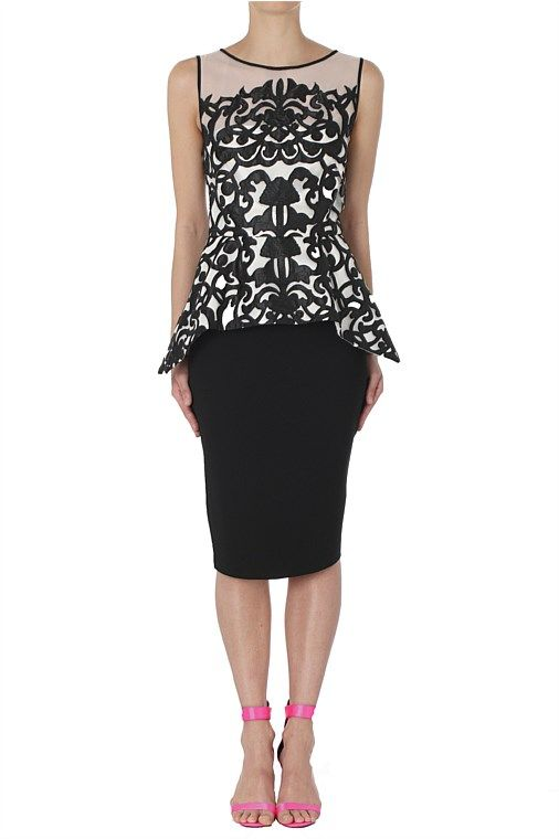 Short dresses - Onyx Pearl Mantilla Lace Peplum Dress