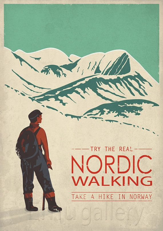 Retro travel poster minimalist print Nordic Walking by EmuDesigns