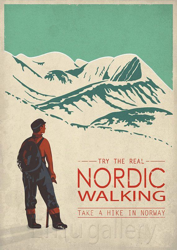 Retro travel poster minimalist print Nordic Walking by EmuDesigns