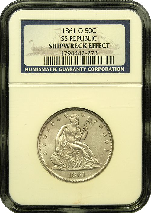 1861 O Seated Half Dollar-NGC-Shipwreck Effect Pedigreed from the SS Republic Shipwreck of 1861, this gorgeous half dollar resided on the bottom of the ocean for nearly 150 years yet remains in incredible condition! - https://secure.austincoins.com/index.cfm?event=admin.product.editpersistId=9F93177FF14ED4FF78817F845F98AE49productId=16479