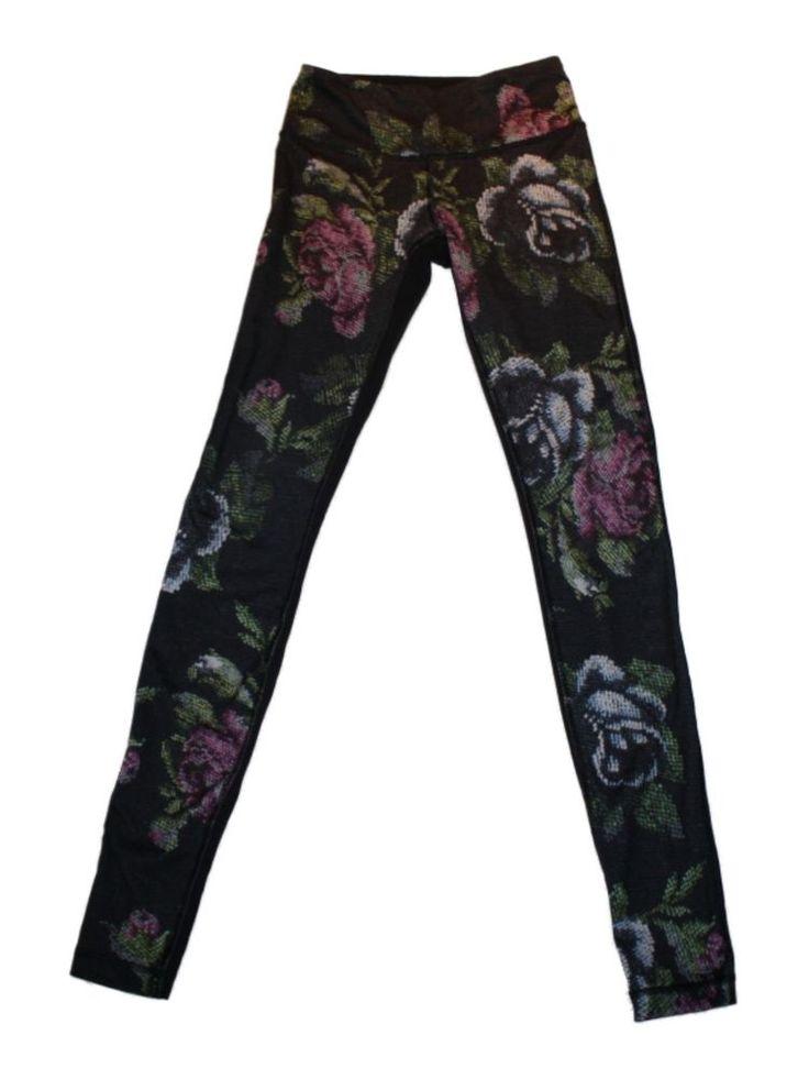 Women Lululemon Wunder Under Garden Party Athletic Yoga Barre Pants Size 2 #lululemon #PantsTightsLeggings