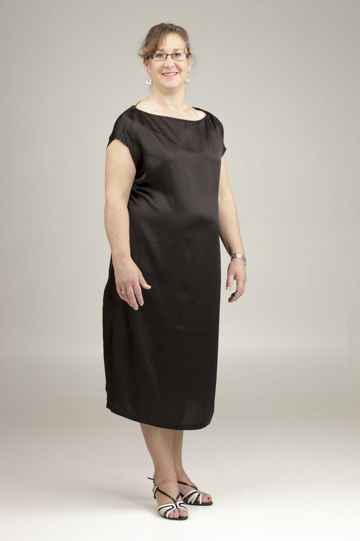 Julie in The Silk Neckfold (#1313), size 20.  http://perfectblackdress.com.au