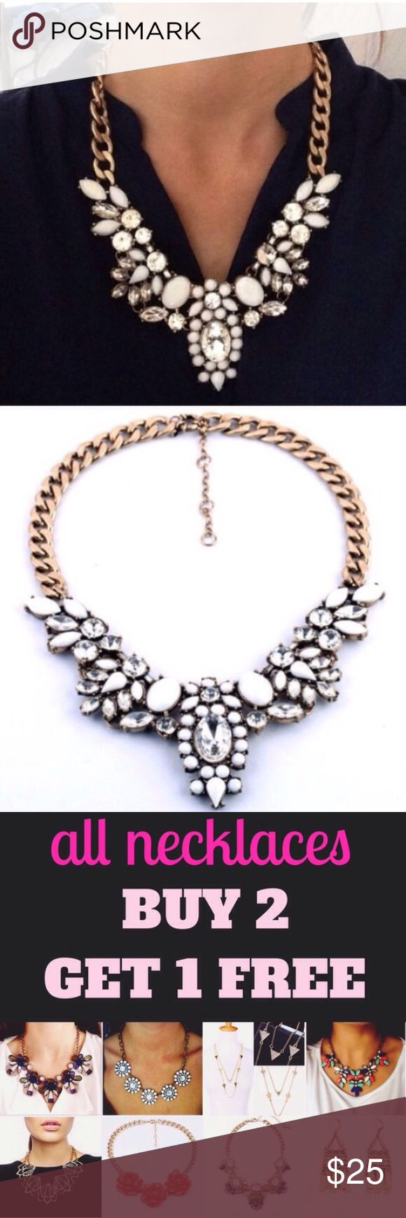 ❣RESTOCK❣ Crystal Floral White Statement Necklace Brand new! Adjustable! One of my all time best sellers! All jewlwry is buy 2 get 1 free! Jewelry Necklaces