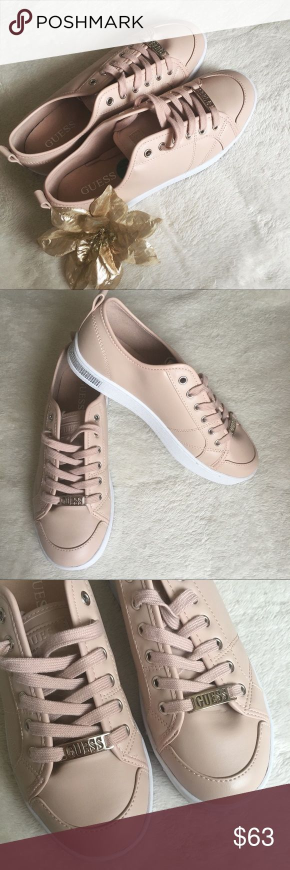 NEW Guess Sneakers Nude Pink Size 7.5 NWOT BRAND NEW Gorgeous Guess Nude Pink sneakers. Size 7.5  White shoe sole with studs in the back Guess Shoes Sneakers
