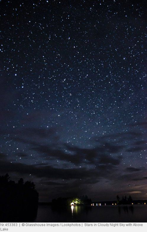 Stars in Cloudy Night Sky with Above Lake