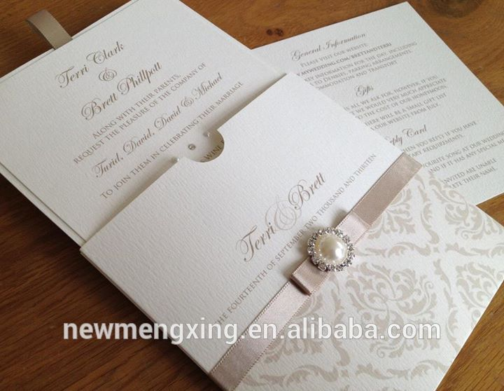 Arabic Pocket Wedding Invitations With Ribbon And Brooch , Find Complete Details about Arabic Pocket Wedding Invitations With Ribbon And…