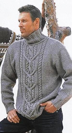 Мужской свитер с узором из кос. Вязание спицами