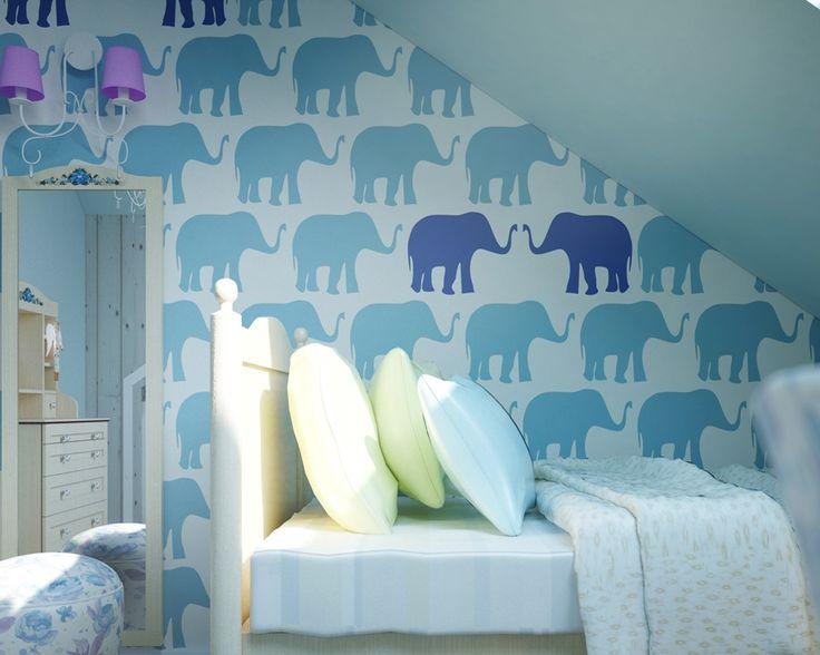 Tapeta Słonie Blue - Sklep Toto Design