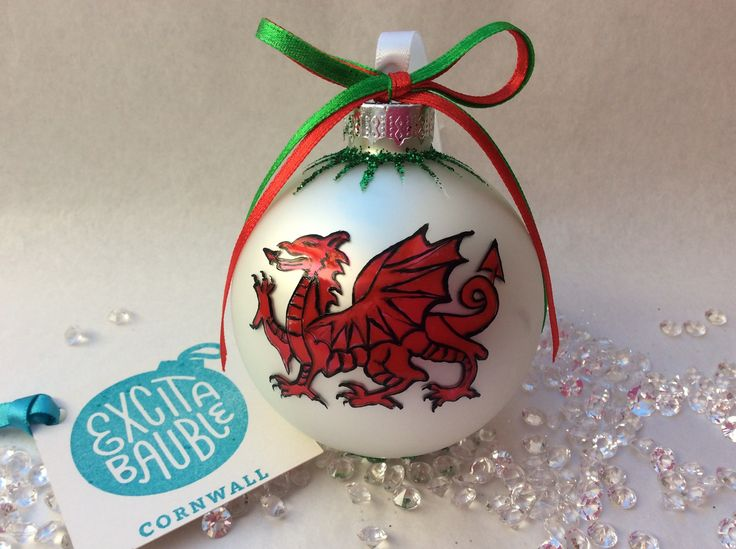 Welsh Dragon Personalised Bauble. Hand Painted On Glass