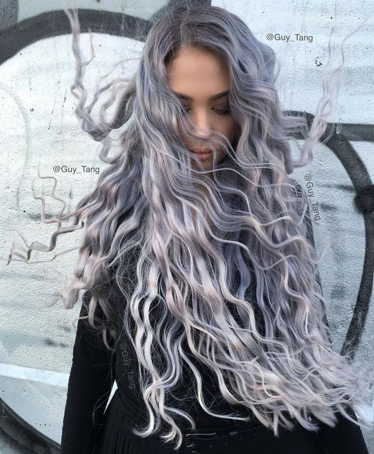 Long healthy hair of Silver Metallics and Violet booster!