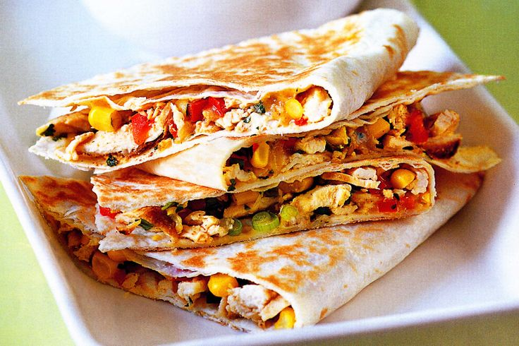 Try our spicy Mexican quesadillas with creamy avocado and chicken filling.