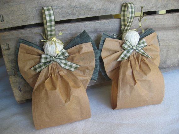 Brown Country Angel Ornaments Set of Two Country Paper Ribbon Angel Tree Ornaments SnowNoseCrafts