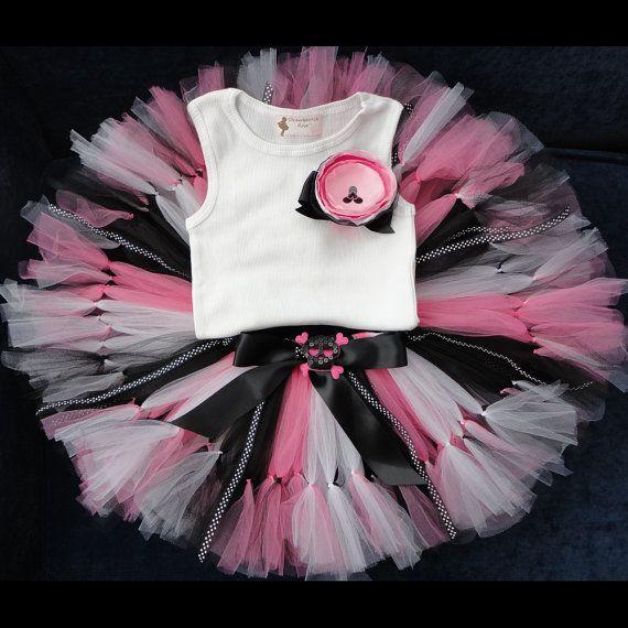 Pink and Black Pirate Tutu Dress for Girls, Baby Girl 1st Birthday Dress, Skull Dress on Etsy, $68.95