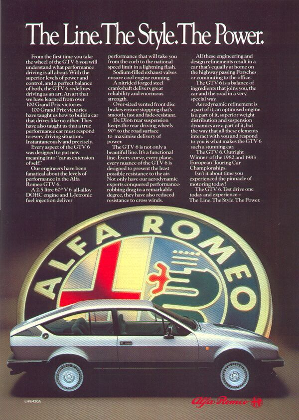Alfa GTV6 ad.Gtv6 Adv, Alfa Gtv6, Alfa Romeo Gtv6, Cars Ads, Automotive Ads, Gtv6 Ads, Alfa Roméo