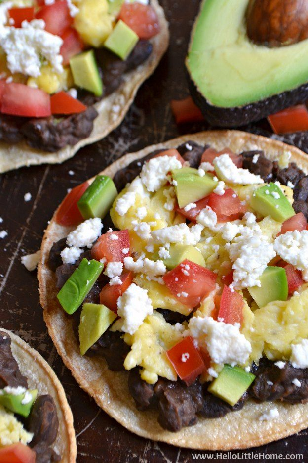 Mexican Breakfast Tostadas ... start your day right with this yummy vegetarian breakfast recipe! You are going to love this delicous, crunchy, and easy to make Mexican-inspired breakfast idea! | Hello Little Home