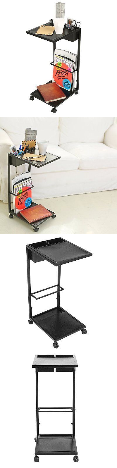Magazine Racks 38223: Modern Black Metal Rolling Overbed Table With Magazine Rack, 2 Removable And 4 -> BUY IT NOW ONLY: $53.43 on eBay!