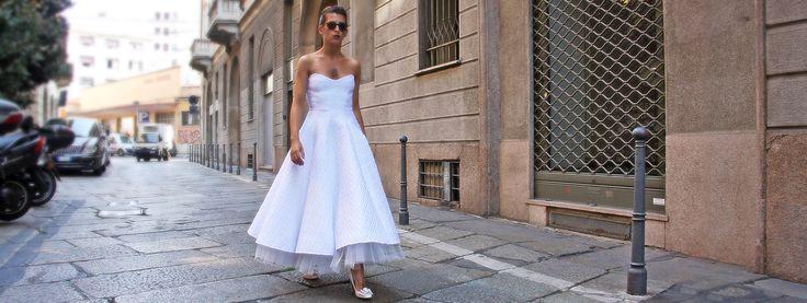 Abito da sposa, stile vintage, corto su misura anni 50 e 60 con tessuti chic made in Italy. #Rockabilly #stilevintage #abitodasposa