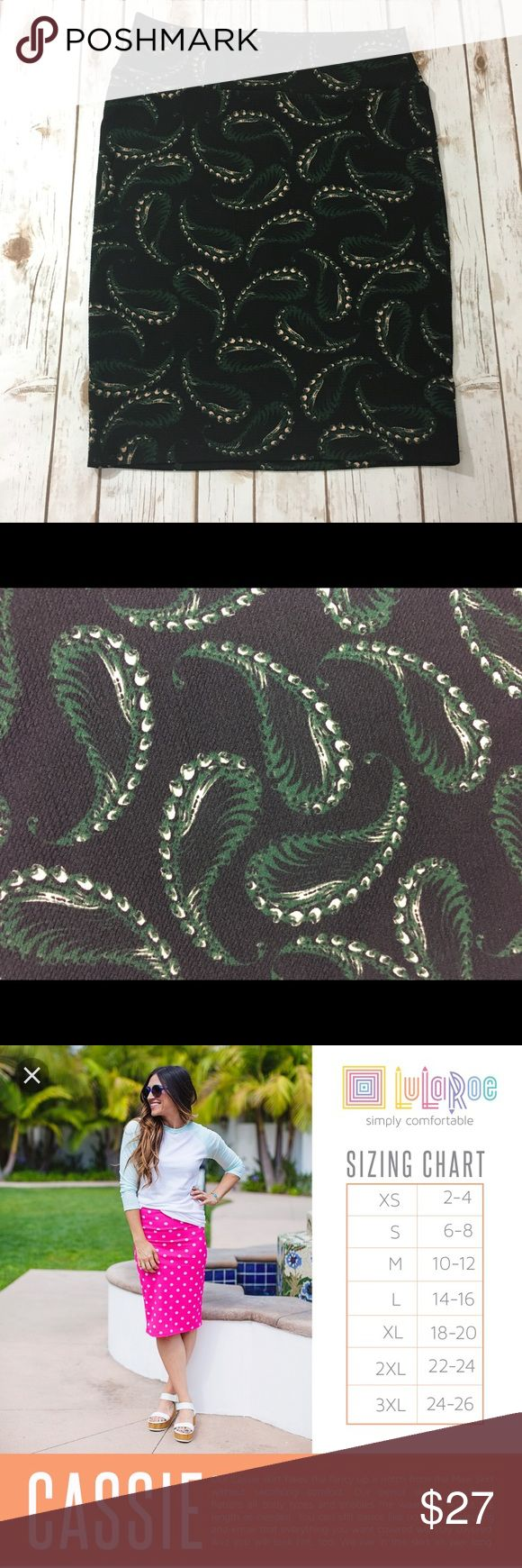 """EUC LLR """"Cassie"""" pencil skirt, paisley print Excellent condition worn once. Black background. Other colors are green & cream. Stretchy material. LuLaRoe Skirts Pencil"""